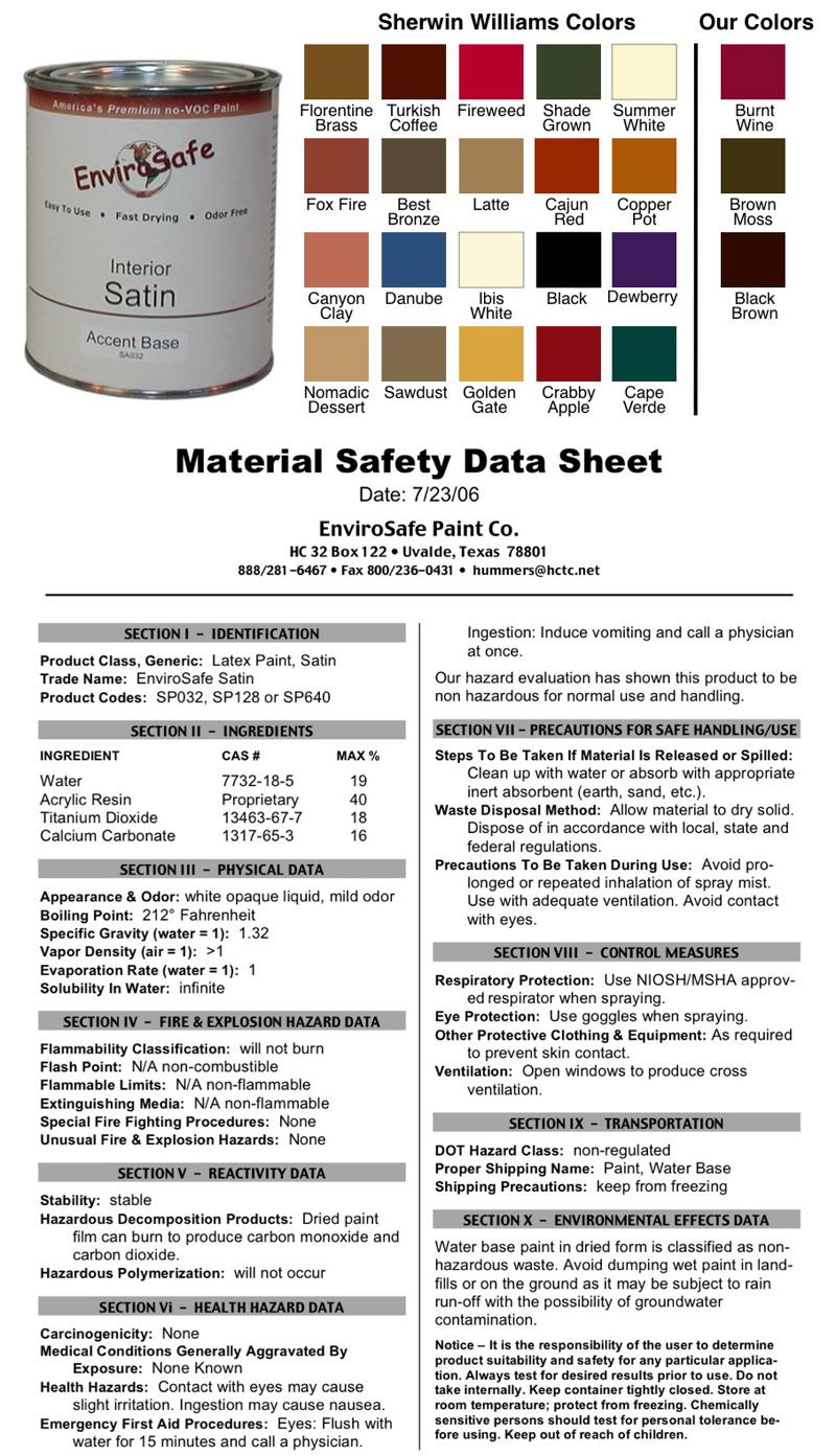 Spray Paint Msds Sheets Part - 16: Envirosafe Zero Voc Interior Satin Quart